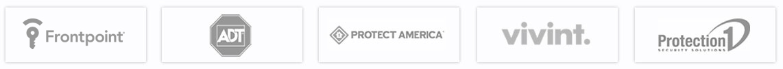 Home Security Providers logos for Vivint, Protect America, Frontpoint, ADT, and Protection 1